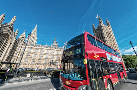 the existing: LONDON - JUNE 14: The much heralded hybrid New Bus For London is now in service on route 38. It is 50% more fuel efficient than existing diesel buses. JUNE 14, 2015 in London