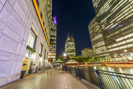 lloyds london: Beautiful Canary Wharf skyline at night, London from street level.