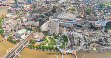 rive: Helicopter view of London along Thames rive