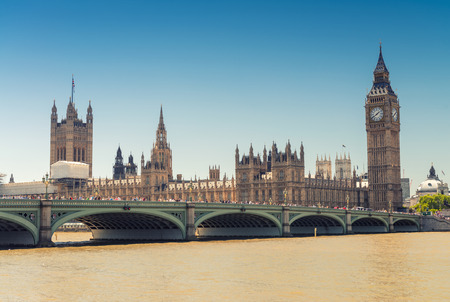 westminster: Westminster Bridge and Houses of Parliament, London. Stock Photo