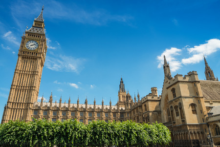 commons: Big Ben and palace of Westminster on a beautiful summer day.