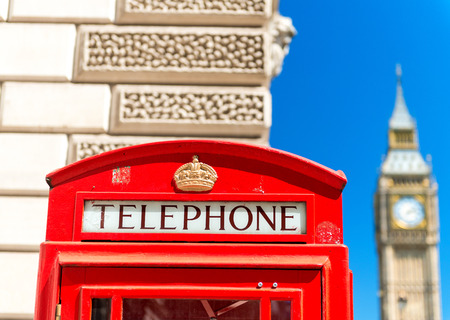 telephone booth: Red Telephone Booth under Big Ben - London.