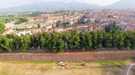 lucca: Lucca, Italy- City overhead view.