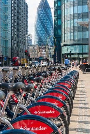 sponsorship: LONDON, UK - JUNE 12: Detail of Boris bikes in line. June 12, 2015 in City of London. On 27 February 2015, Mayor Boris Johnson secured Santanders sponsorship on the bikes scheme to replace Barclays bank