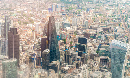 London skyline as seen from helicopter.