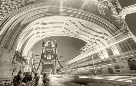 magnificence: Magnificence of Tower Bridge at night, London - UK. Stock Photo