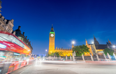 magnificence: Magnificence of Westminster Palace and Big Ben at night, London - UK. Stock Photo