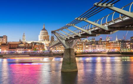millennium: The Millennium Bridge at night, London.