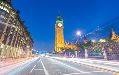 london skyline: Magnificence of Westminster Palace and Big Ben at night, London - UK. Stock Photo