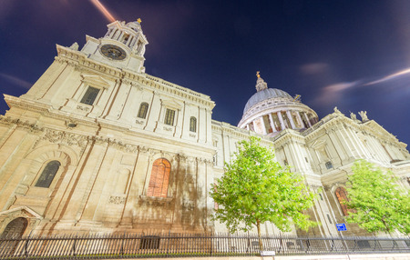 magnificence: Magnificence of St Paul Cathedral at night - London - UK. Stock Photo