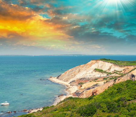 beach landscape: Wonderful landscape of Aquinnah Beach, Marthas Vineyard.