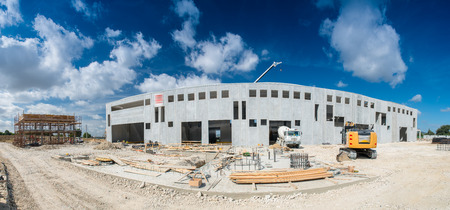 Beautiful panoramic view of building construction site. Work in progress.