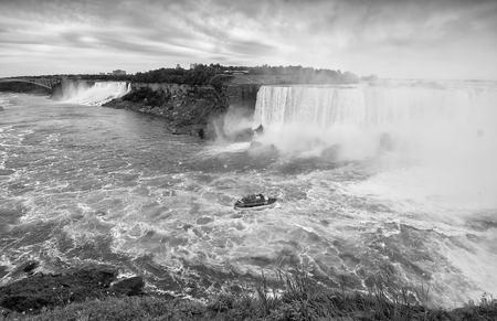 scenario: Black and white view of Niagara Falls scenario.
