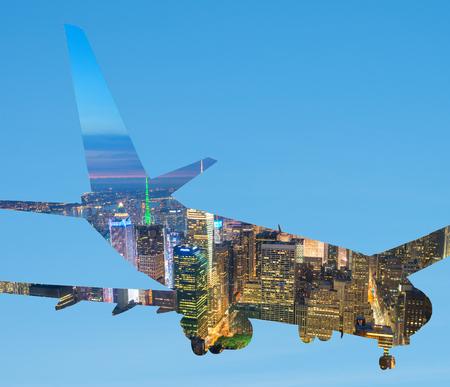 jetplane: Silhouette of airplane with New York skyline.