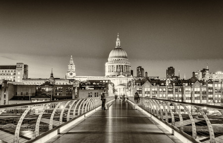 saint pauls cathedral: Magnificence of Millennium Bridge, London - UK. Editorial