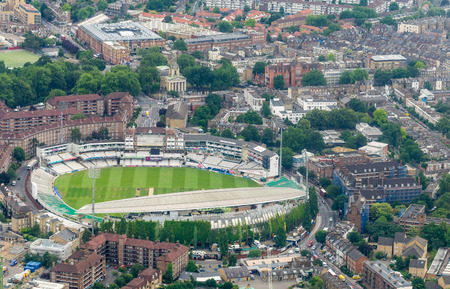 LONDON, ENGLAND - JUNE 11: Aerial view of The Kia Oval Cricket Ground on June 11, 2015 in London, England