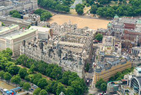 govern: London, UK. Aerial view of Whitehall Gardens and Govern Headquarters.