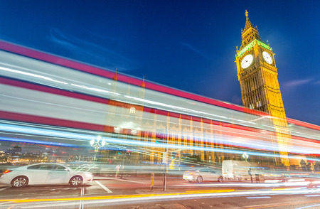 westminster: Light trails over Westminster, London. Stock Photo