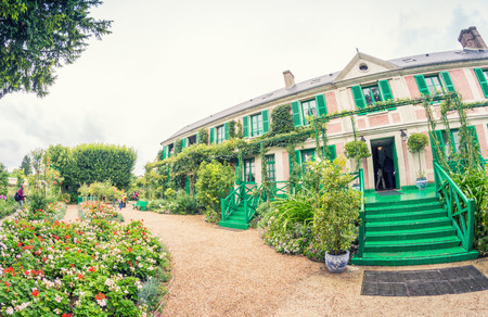 monet: The Clos Normand house of Claude Monet garden Famous French impressionist painter 1840 1926 Giverny Normandy France.