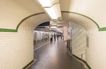 preferred: PARIS - JUNE 10, 2014: Interior of subway station. Metro trains are the preferred way to move in the city.