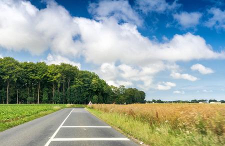 across: Road across countryside.