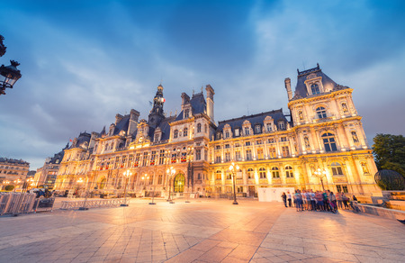 ville: PARIS - JUNE 11, 2014: Hotel de Ville at night. Hotel de Ville is one of the most appreciated landmark among tourists. Editorial