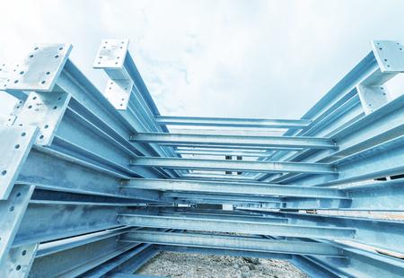 Welded: New welded metal beams on modern plant.