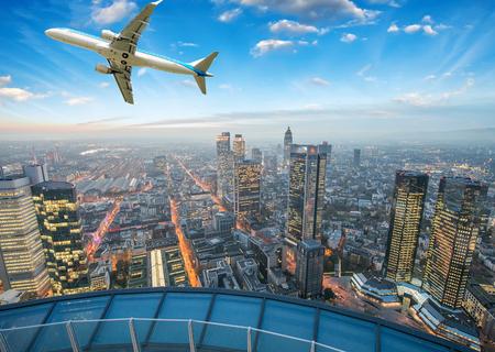 frankfurt: Airplane overflying Frankfurt. Editorial