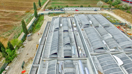 buildingsite: Construction site, aerial view from drone.