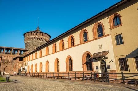 sforza: Sforza castle on a beautiful summer day, Milan.