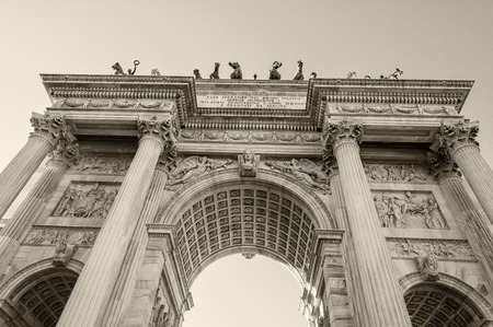 pace: Beautiful structure of Arco della Pace in Milan. Stock Photo