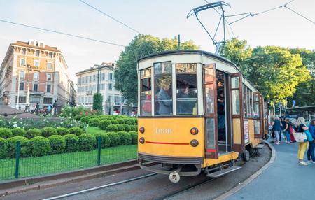 september 2: MILAN - SEP 25: Historic tram rides on September 25, 2015 in Milan. Milan transportation system carries 2 million passengers daily. Editorial