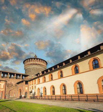sforza: Garden and walls of Sforza Castle, Milan.
