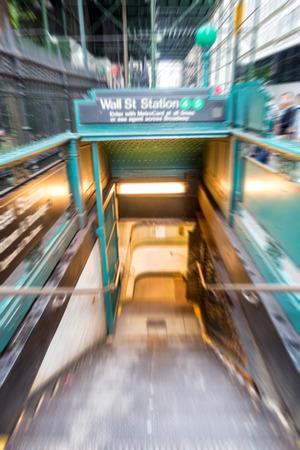 subway entrance: Blurred view of New York subway entrance. Stock Photo