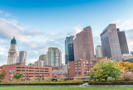 Boston skyline on a beautiful sunny day, Massachusetts.