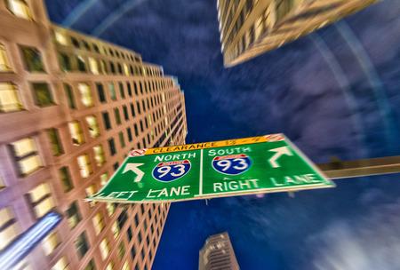 interstate: Interstate 93 sign, blurred view.