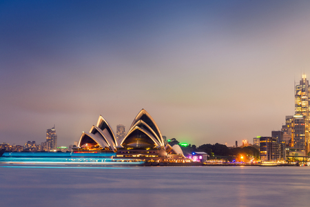 Sydney Harbour night time Panorama viewed from Kirribilli.