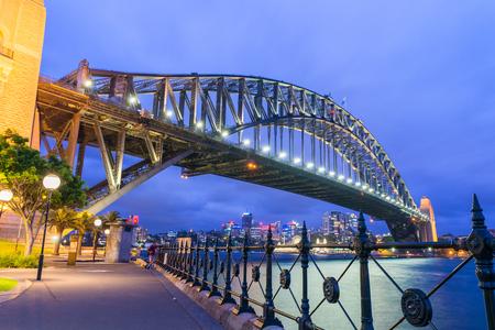 호주 시드니의 멋진 밤 스카이 라인. 스톡 콘텐츠