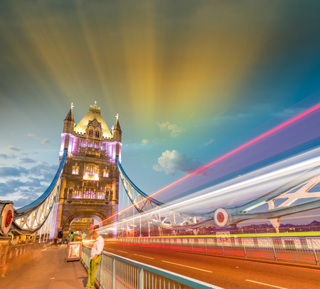 magnificence: Magnificence of Tower Bridge at dusk, London. Stock Photo