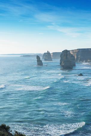 rd: Beautiful sunset view at coast of Twelve Apostles by Great Ocean Rd, Australia.