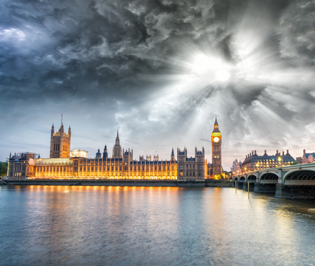 london landmark: Houses of Parliament in Westminster at sunset - London. Stock Photo