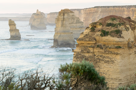 great: The Twelve Apostles at sunset along Great Ocean Road, Victoria - Australia. Stock Photo