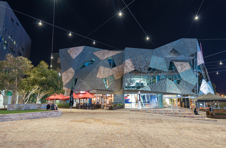 federation: MELBOURNE, AUSTRALIA - OCTOBER 10, 2015: Iconic Federation Square on a dpring day. It is a mixed-use development in the inner city of Melbourne, covering an area of 3.2 hectares.