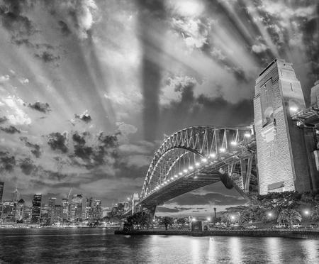 nsw: Stunning night skyline of Sydney, NSW. Black and white view.