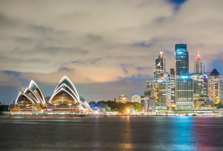 Sydney, Australia. Amazing skyline at dusk. Stock Photo