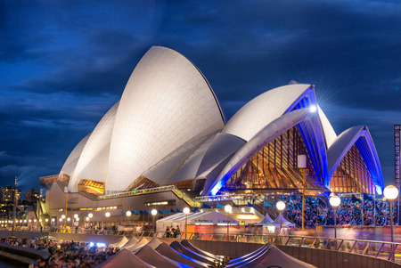 man made structure: SYDNEY - NOVEMBER 6, 2015: Opera House at dusk. The man made structure is considered the major landmark of Sydney and tourists attraction Editorial