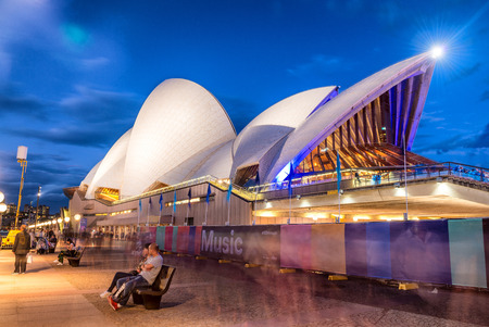 man made structure: SYDNEY - NOVEMBER 6, 2015: Opera House at dusk. The man made structure is considered the major landmark and tourist attraction of Sydney. Editorial