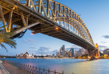 시드니, 호주. 황혼 놀라운 스카이 라인. 스톡 콘텐츠