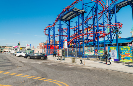 coney: NEW YORK - OCTOBER 20: Coney Island boardwalk in front of the Wonder wheel on October 20, 2015 in Coney Island, NY. Coney Island is a famous tourist attraction. Editorial