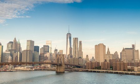 downtown manhattan: Downtown Manhattan over East river. Stock Photo